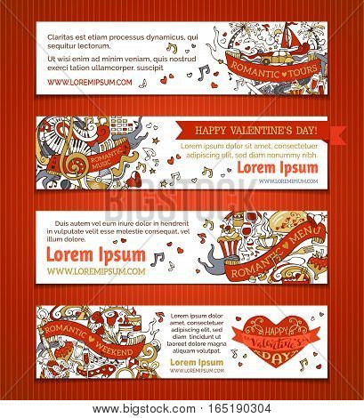 Vector Set Of Horizontal Love Banners.