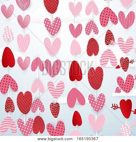 Cute hearts hang in the sky valentines day concept background. paper art and cut origami style