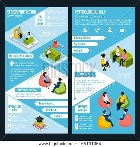 Stress isometric vertical banners with differents ways of depression prevention therapy and treatment vector illustration