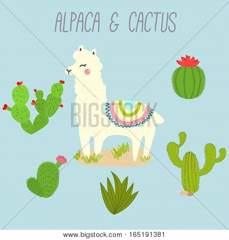 Cute Vector Llama and Cactus Design Elements. Illustration