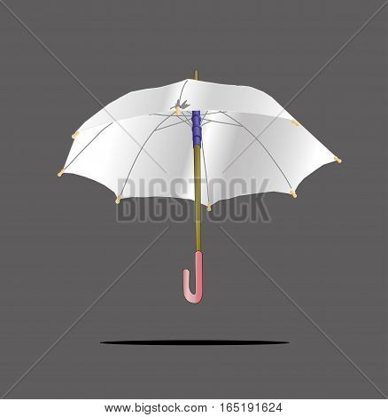 White Umbrella on grey isolated. Vector illustration of open colored umbrellas. Only global colors.  Easy color changes.