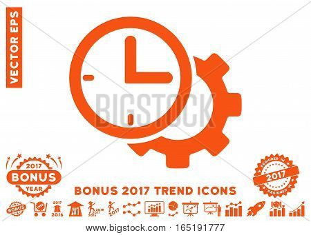 Orange Time Setup Gear pictograph with bonus 2017 year trend images. Vector illustration style is flat iconic symbols white background.