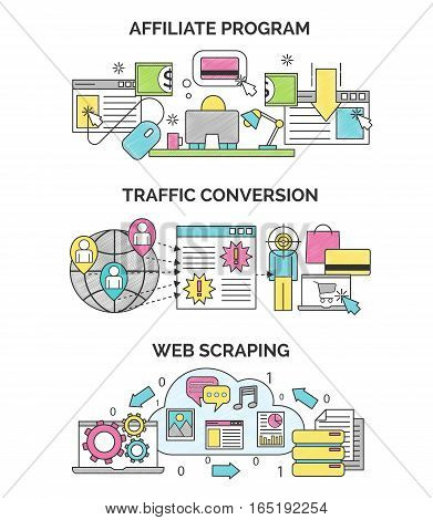 Three scribble illustrations for internet marketing and seo optimization. Affiliate program, traffic convertion and web scrapping concepts for web and design.