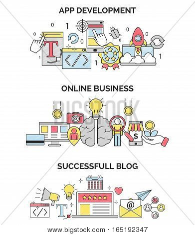 Three scribble illustrations for various online busingss activities, blogging and mobile application development. Web and design elements for various IT related earnings.