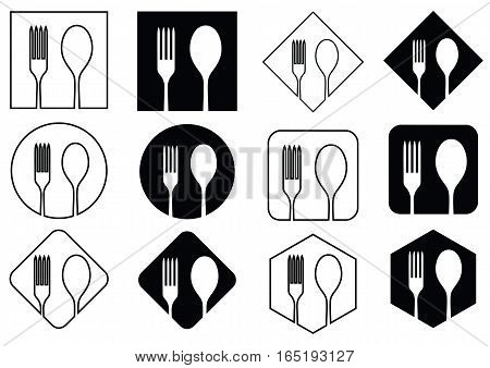 Icon spoons and forks on various geometric figures in black and white tone