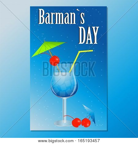 Day bartender vector illustration. Card with a cocktail . Greeting card banner poster flyer invitation
