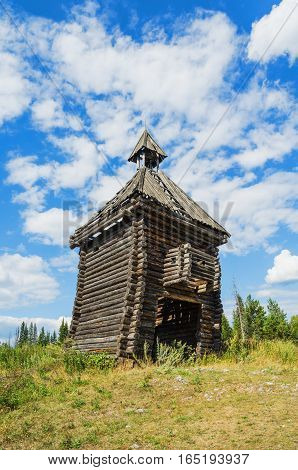 An abandoned wooden structure. An abandoned wooden structure. The remains of the scenery constructed for a film about ancient Russia