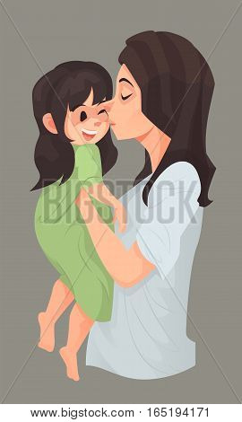 Mother Hug And Kiss Her Daughter.