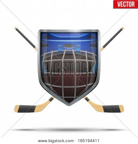 Ice hockey symbol goalie helmet inside shield with sticks. Design elements. Illustration isolated on white background.