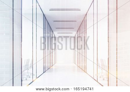 Long office corridor with glass walls. There are several conference rooms in it and. Concept of a successful company. 3d rendering. Toned image. Double exposure