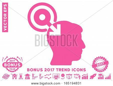 Pink Brain Interface Plug-In icon with bonus 2017 trend pictograms. Vector illustration style is flat iconic symbols white background.
