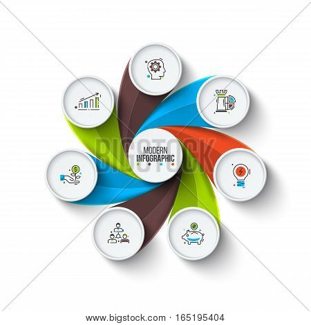 Business data visualization. Abstract elements of cycle diagram with 7 steps, options, parts or processes. Vector business template for presentation. Creative concept for infographic. Process chart.