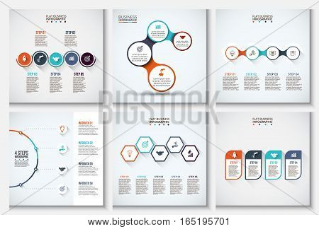 Thin line flat elements set for infographic. Template for diagram, graph, presentation and chart. Business concept with 4 and 5 options, parts, steps or processes. Data visualization.