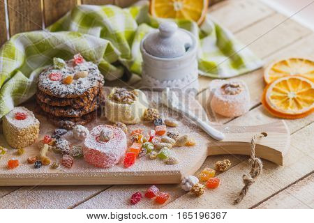 Rahat Lokum With Candied Peels, Cookies And Sugar Powder
