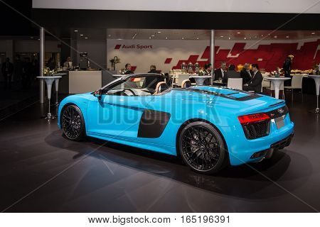 DETROIT MI/USA - JANUARY 10 2017: A 2017 Audi R8 Sypder car at the North American International Auto Show (NAIAS).