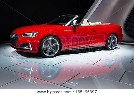 DETROIT MI/USA - JANUARY 10 2017: A 2018 Audi S5 Cabriolet car at the North American International Auto Show (NAIAS).