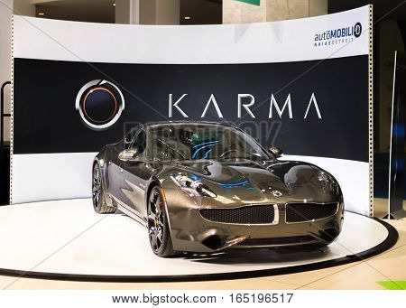 DETROIT MI/USA - JANUARY 9 2017: A 2017 Wanxiang (Fisker) Karma Revero car at the North American International Auto Show (NAIAS).
