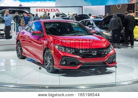DETROIT MI/USA - JANUARY 12 2017: A 2017 Honda Civic Si car at the North American International Auto Show (NAIAS).