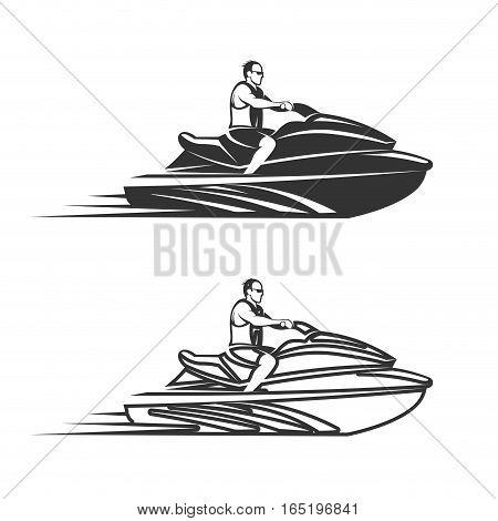 Set of Jet Ski Watercraft transport vector