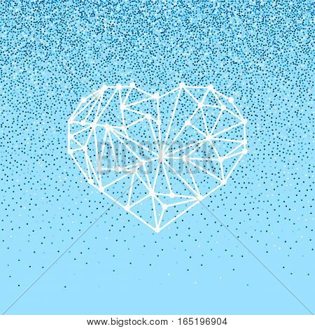 Happy Valentines Day love greeting card with geomtric heart on blue background with falling glitter effect