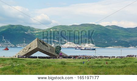 NOVOROSSIYSK RUSSIA - MAY 08.2016: a Solemn meeting in honor of the anniversary of the victory in the war on the territory of the memorial