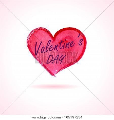 Watercolor painted red heart, Valentine's Day free typography. Vector element for your card, banner, flyer design