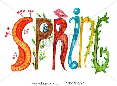 raster colorful illustration with a stylized spring inscription isolated on white. Special for spring theme, warm image for children goods, printed production and stationery.