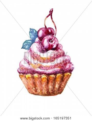 Raster watercolor cake with cherry isolated on white. Food, catering, holiday themes. Illustration for printed goods (postcards, recipe books, magazines, stickers).