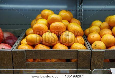 Orange Box On Sale In Fruit Shop