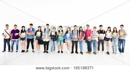 happy young college student group standing together