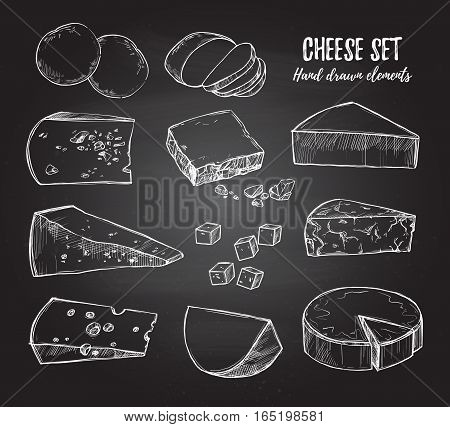 Hand Drawn Vector Illustration. Cheese Set (mozzarella, Blue Cheese, Gouda, Parmesan, Maasdam Etc).