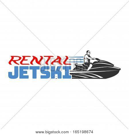 Set of Jet Ski rental logo, badges and emblems isolated on white background. Watercraft transport logo.