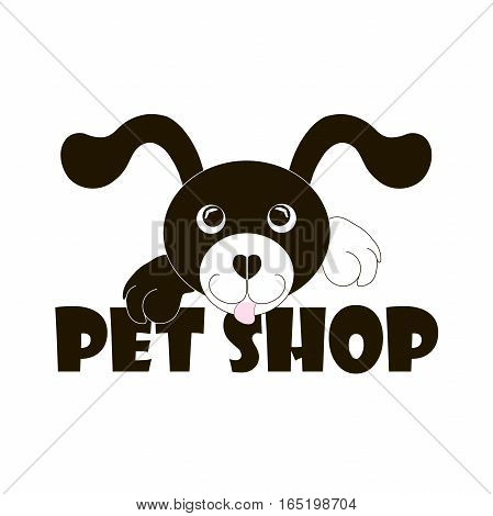 Typography banner Pet shop with black and white cartoons dog, stock vector illustration
