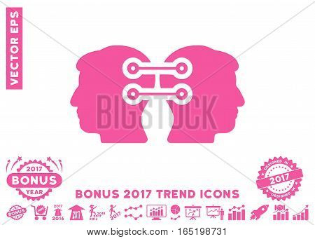 Pink Dual Heads Interface Connection pictogram with bonus 2017 trend icon set. Vector illustration style is flat iconic symbols white background.