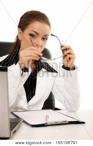 Young business woman holding glasses. Business concept