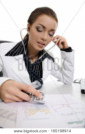 Young Businesswoman Researching Balance