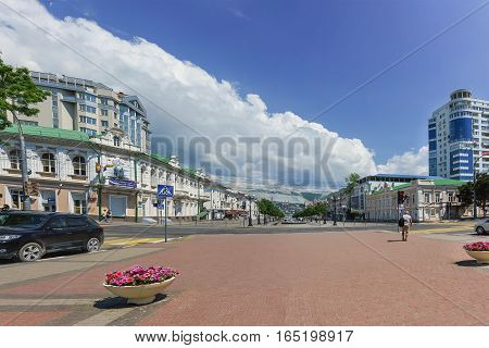 NOVOROSSIYSK RUSSIA - MAY 08.2016: Broad street Novorossisk Republic in the Central part of the city of Novorossiysk. Russia
