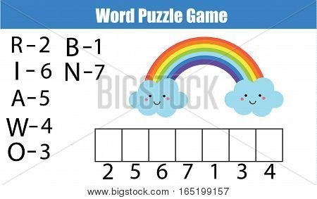 Words puzzle children educational game with numbers code. Place the letters in right order. Learning vocabulary and numbers. Printable worksheet