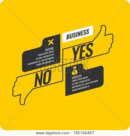 Yes and no sign of product quality and choice. Thumbs Up and Down Poster. Vector illustration.