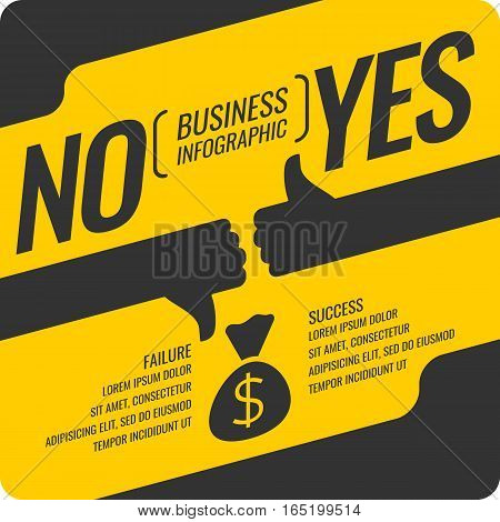 Yes and no sign of product quality and choice. Business infographics success and goal achievement.. Vector illustration.