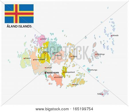 Aland islands administrative and political vector map with Flag