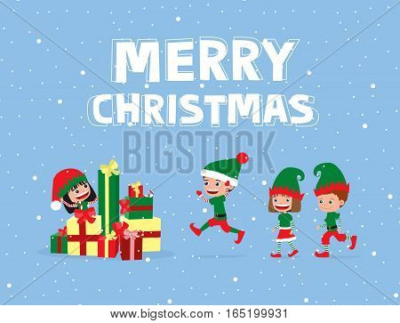 Cheerful children wearing elf costumes, running towards pile of Christmas gifts.