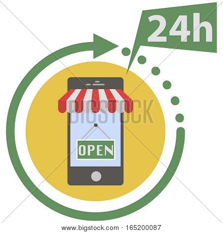 Day and night online shop on modern smart phone in flat style. On line store. Sale, smart phone with awning on white background.