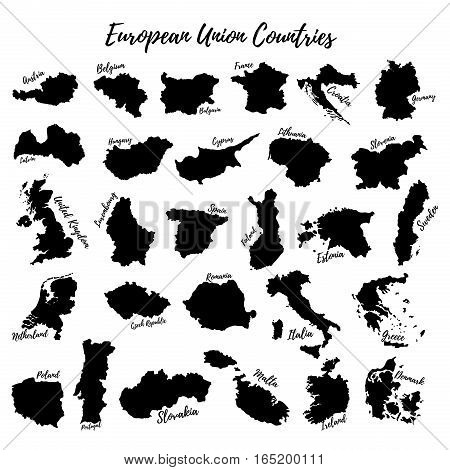 Large set of the European Union. Silhouettes of the countries of the European Union.Vector.
