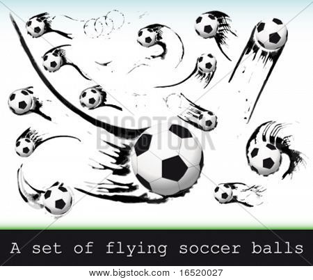 Vector Set of flying soccer balls.
