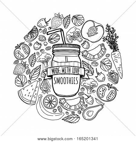 Template design banners, brochures, flyers homemade smoothie. Design poster with silhouette smoothie jar and and ingredients. Decoration with fruits, vegetables and herbs in line style.