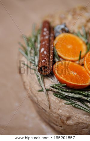 Decorative Chirstmas Cake With Rosemary,orange,cinnamon