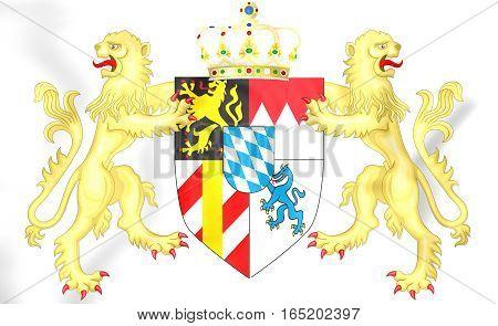 Kingdom Of Bavaria Coat Of Arms. 3D Illustration.