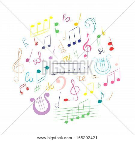 Colorful Hand Drawn Set of Music Symbols. Doodle Treble Clef Bass Clef Notes and Lyre Arranged in a Circle. Vector Illustration.
