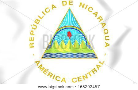 Nicaragua coat of arms. 3D Illustration. Close Up.